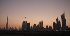 Ultra HD 4K UHD Dubai Skyline Dusk Urban Scene Famous United Arab Emirates UAE Stock Footage