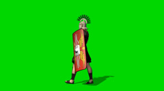 Roman Soldier walk - seperated on green screen Stock Footage