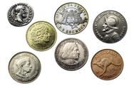 Stock Photo of seven coins of different times and countries
