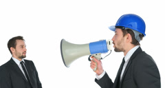 Man shouting at himself with a megaphone Stock Footage