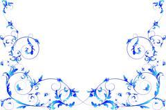 Blue floral frame. - stock illustration