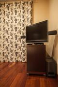 Travertine house - tv table Stock Photos
