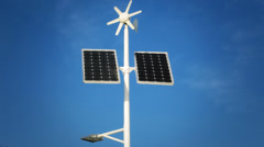 Street lighting with solar panels and wind generator Stock Footage