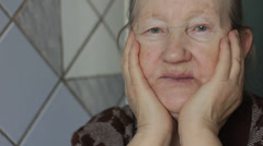 Sad elderly woman Stock Footage