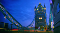 Rush hour in London, view to the Tower Bridge night,time lapse Stock Footage