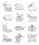 Funny Insect Bugs Stock Illustration