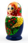 Traditional russian matryoshka doll over white Stock Photos