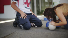 Students learning CPR Stock Footage