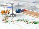 Stock Illustration of stock market concept. scale on financial graph.
