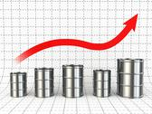 Stock Illustration of growth of oil or petrol price. barrels and graph.