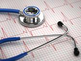 Stock Illustration of stethoscope and ecg cardiogram. medicine concept,