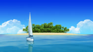Stock Video Footage of Yacht Sailing Island Travel Intro
