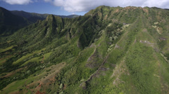 Stock Video Footage of Aerial Shot of a valley with steep cliff - Oafu Hawaii