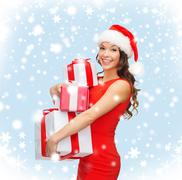smiling woman in red dress with many gift boxes - stock illustration