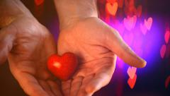 Valentine Heart in a Man's Hands Stock Footage