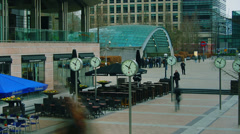 T/Lapse People going about there business Canary Wharf, London, England Stock Footage
