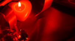 Valentines Hearts Candle and Red Silk Border Design - stock footage