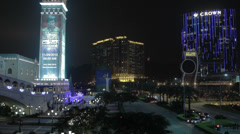 HD video of the Cotai Strip and Venetian hotel in Macau at night Stock Footage