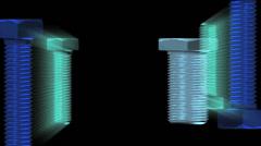 Blue Green Screws visual loop 720p Stock Footage