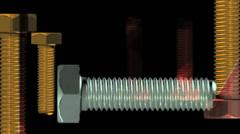 Gold multi direction Screws visual loop 720p Stock Footage