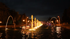 Stock Video Footage of Batumi night fountain, Georgia b