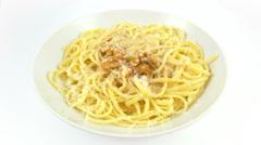 Dish pasta spaghetti walnut sauce Stock Footage