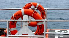 Ferry lifebuoy Stock Footage