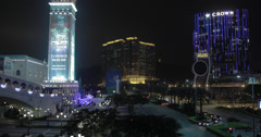 4K video of the Cotai Strip and Venetian hotel in Macau at night Stock Footage