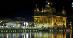 Amritsar Golden Temple night time lapse 4k Stock Footage
