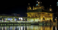 Stock Video Footage of Amritsar Golden Temple night time lapse 4k
