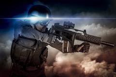 Soldier in uniform with rifle, assault sniper on apocalyptic clouds, firing Stock Photos