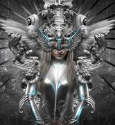 deity, dressed in silver princess, fantasy concept - stock illustration
