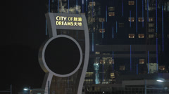HD clip of the City of Dreams Casino hotel in Macau at night Stock Footage