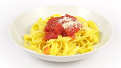 Dish pasta tagliatelle tomato Stock Footage