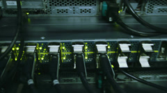 Fully loaded network media converters and ethernet switches Stock Footage