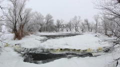 Winter scenic of the River Krynka, Donetsk region, Ukraine Stock Footage