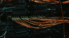 Cables and connections on network server. Stock Footage