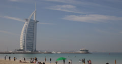 Ultra HD 4K Beach Burj Al Arab Dubai Seascape Exotic City Place People Crowd UAE Stock Footage