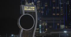 4K clip of the City of Dreams Casino hotel in Macau at night Stock Footage