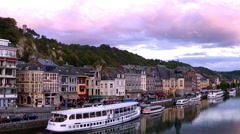 Evening in a small Belgian town Dinant. Stock Footage