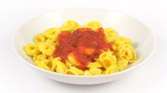 Dish pasta tortelli tomato Stock Footage