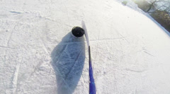 Ice Hockey Dribbling with stick and puck Stock Footage
