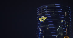 4K clip of the Hard Rock Casino hotel in Macau at night Stock Footage