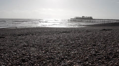 A Destroyed Pier on Beach - Wide Shot Stock Footage