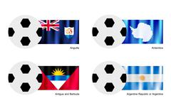 Football with Anguilla, Antarctica, Antigua and Barbuda and Argentina Flag Stock Illustration