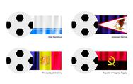 Stock Illustration of Soccer Ball with Altai, American Samoa, Andorra ,Angola, Angola Flag