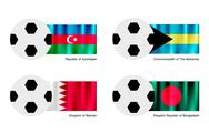 Stock Illustration of Soccer Ball with Azerbaijan, Bahamas, Bahrain and Bangladesh Flag