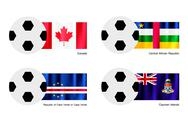 Stock Illustration of Football with Canada, Central African, Cape Verde and Cayman Flag
