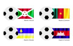 Soccer Ball with Burundi, Cameroon, Buryatia and Cambodia Flag Stock Illustration