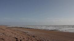 Choppy Seas On The Beach in Hastings - stock footage
